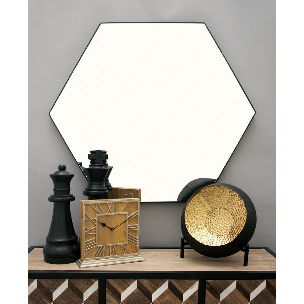 Litton Lane 41 in. x 35 in. Modern Hexagonal Black Wall Mirror