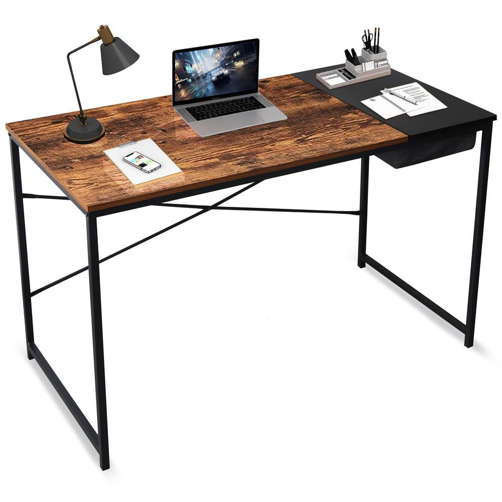 "Desk White /& Chrome X-Shaped Legs Rectangular With 2 Drawers 42/"" x 19/"" x 31/""H"