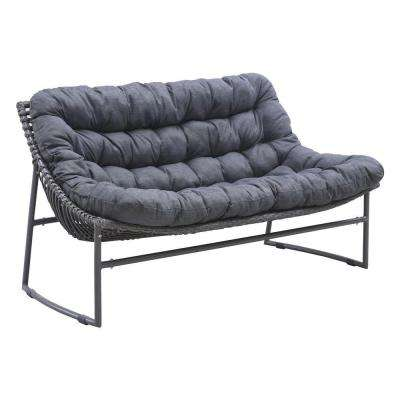 Ingonish Grey Beach Wicker Outdoor Patio Sofa with Grey Cushion