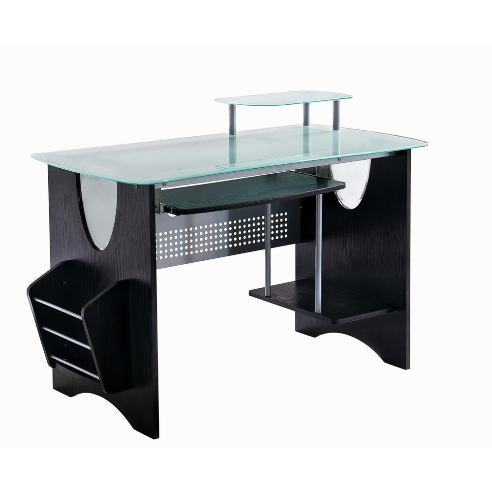 Espresso Stylish Frosted Glass Top Computer Desk With Storage