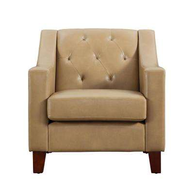 Elegant Avalon Taupe Tufted Back Track Arm Chair