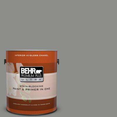 1 gal. #PPU24-20 Letter Gray Hi-Gloss Enamel Interior Paint