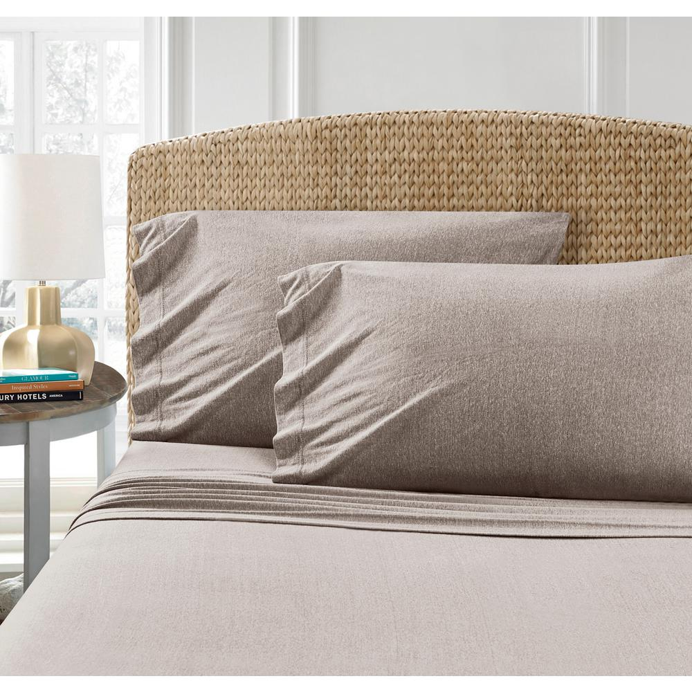 HEATHERED TAUPE JERSEY PILLOWCASES Full Queen 2 Pack T Shirt Jersey Cotton  Blend