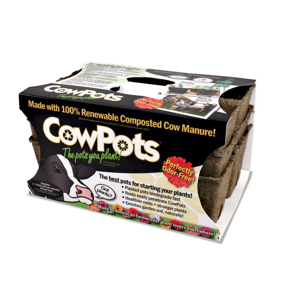 Liquid Fence 3 in. 6 Cell Tray Cow Pots (3-Pack)