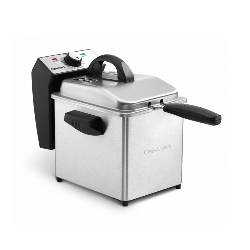 Digital Deep Fryer, Silver Frying up appetizers, sides, and main courses is easy with the Cuisinart Digital Deep Fryer! The digital timer eliminates the guesswork for perfect results every time. The temperature control dial makes operation simple and offers precise heat adjustment. When frying is done the mesh basket and oil container are dishwasher safe making cleanup a snap. Color: Stainless Steel.