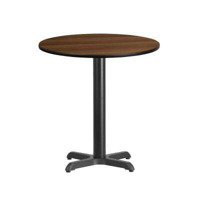 24 in. Round Black and Walnut Laminate Table Top with 22 in. x 22 in. Table Height Base