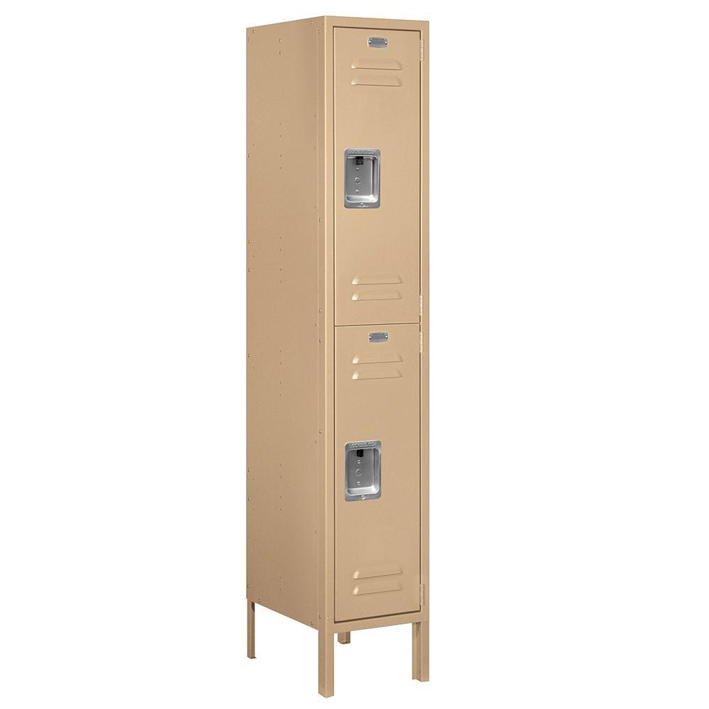 Salsbury Industries 62000 Series 12 in. W x 66 in. H x 15 in. D 2-Tier Metal Locker Assembled in Tan