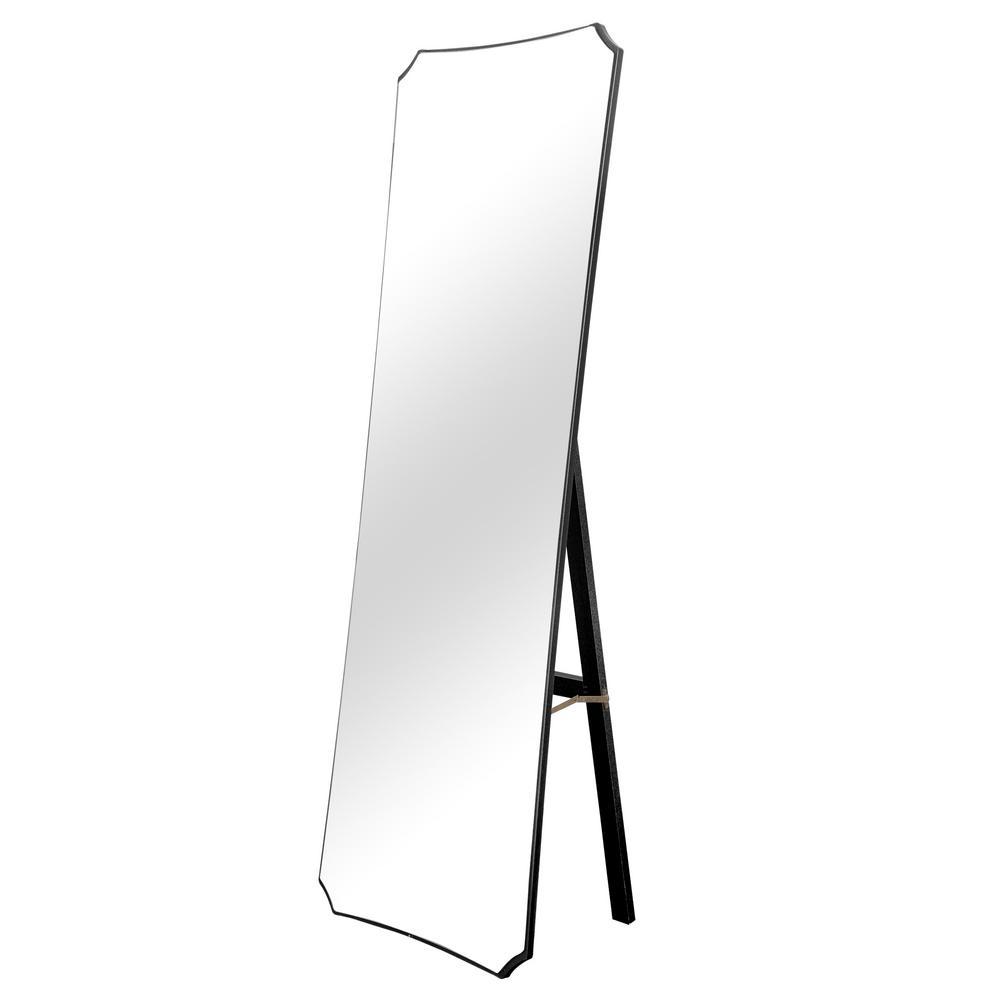 64 in. x 21 in. Modern Irregular Wood Framed Standing Mirror Full Length
