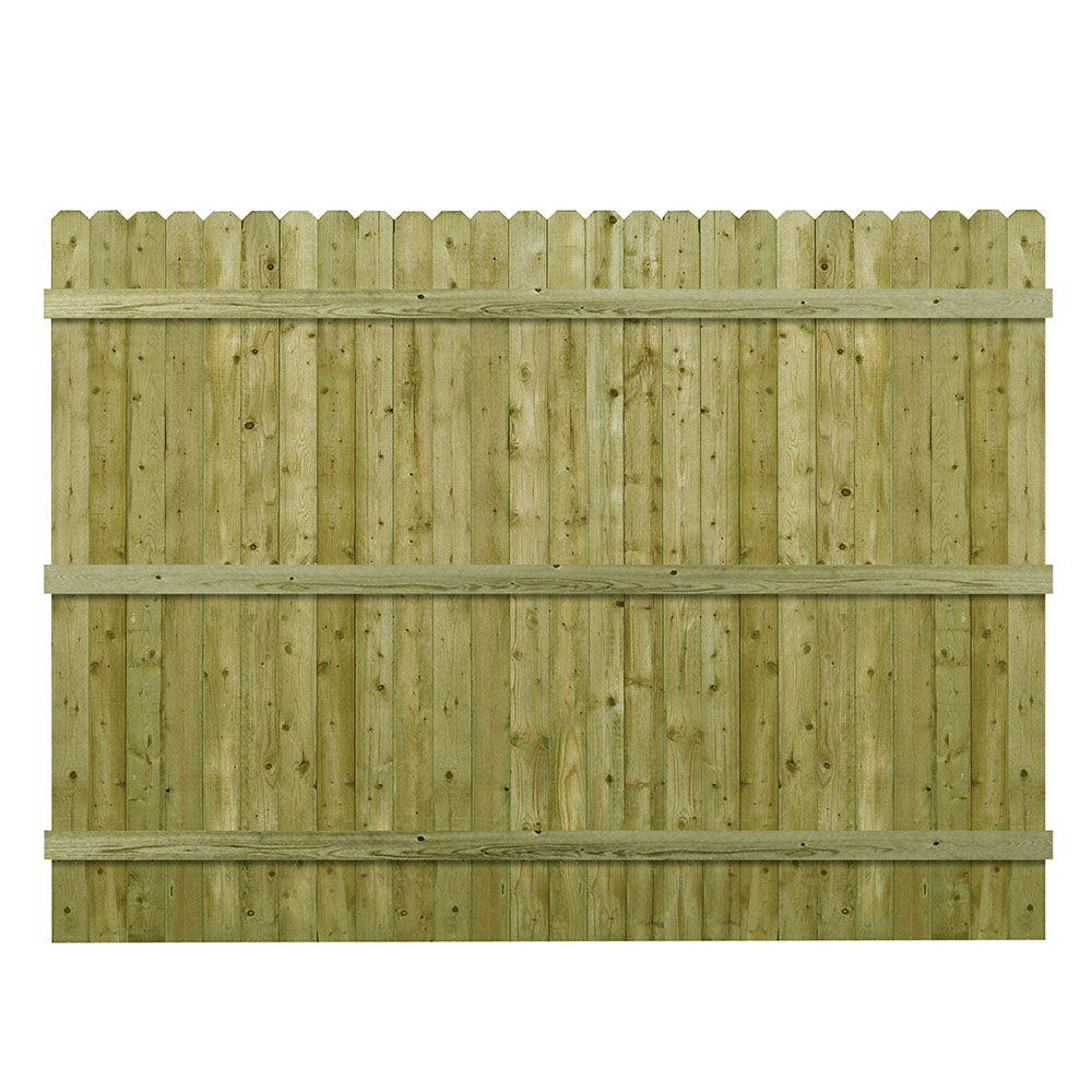 Barrette 6 Ft H X 8 W Pressure Treated 4 In Dog Ear Fence Panel 73000473 The Home Depot