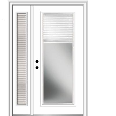 51 in. x 81.75 in. Internal Blinds Right Hand Inswing Full-Lite Primed Steel Prehung Front Door with One Sidelite