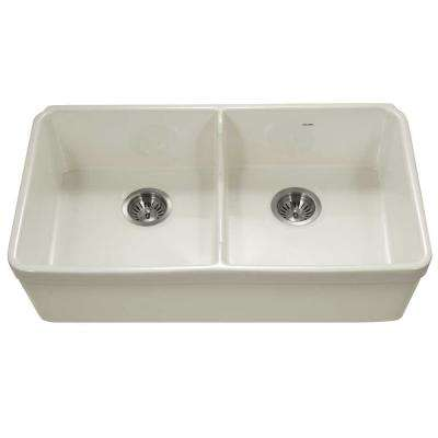 Platus Undermount Fireclay 32 in. 50/50 Double Bowl Kitchen Sink in Biscuit with Low Divide