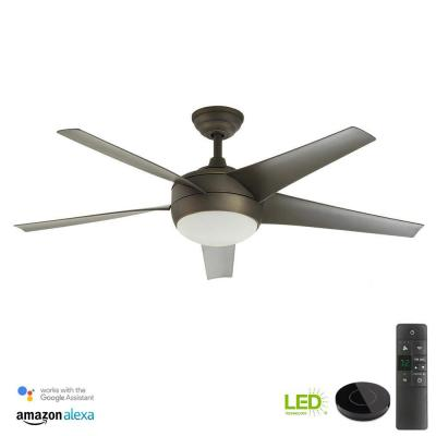 Windward IV 52 in. LED Indoor Oil-Rubbed Bronze Ceiling Fan with Light Kit Works with Google Assistant and Alexa