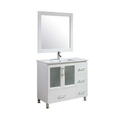 Stanton 40 in. W x 22 in. D x 35 in. H Vanity in White with Porcelain Vanity Top in White with White Basin and Mirror