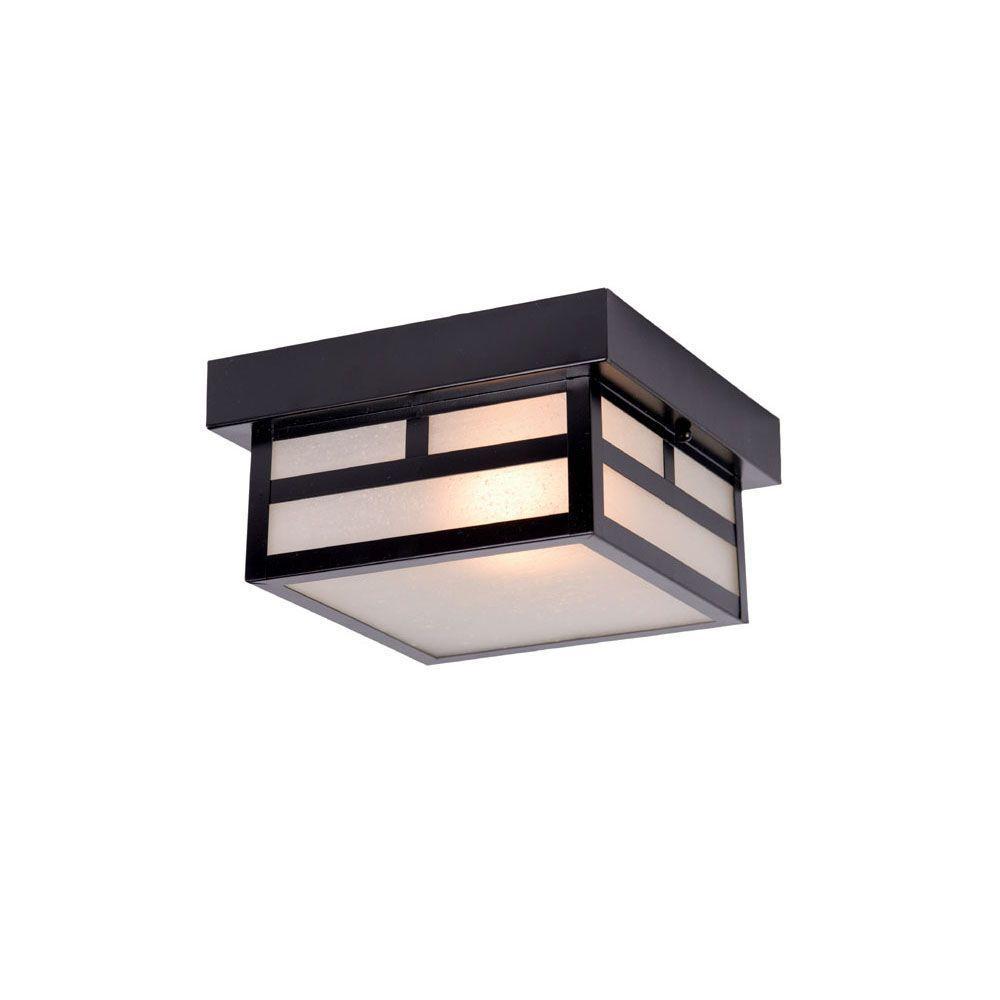 Artisan Collection 1-Light Matte Black Outdoor Ceiling-Mount Light