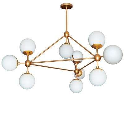 10-Light Gold Chandelier with Frosted Glass