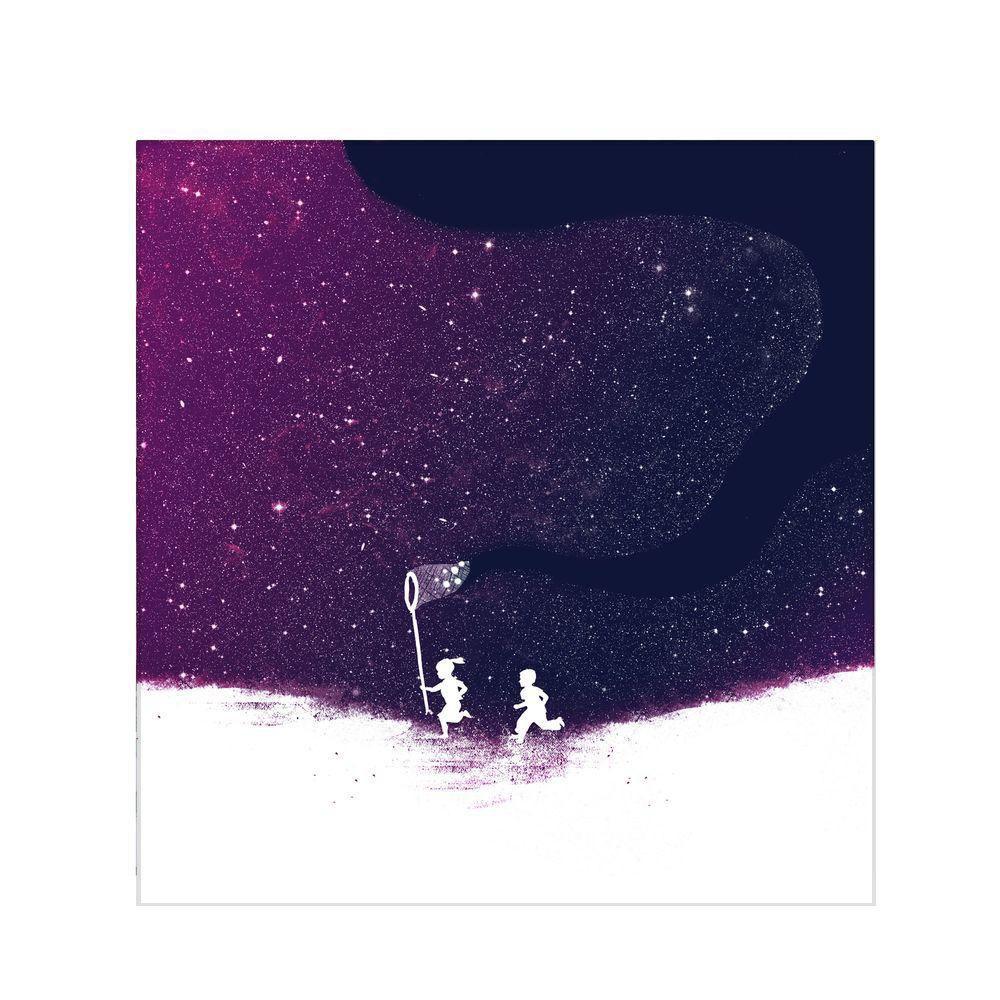 null 14 in. x 14 in. Starfield Purple Canvas Art