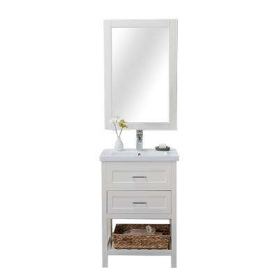 Vineland  24 in. W x 18.25 in. D x 34.75 in H Vanity in White with Porcelain Top in White with White Basin