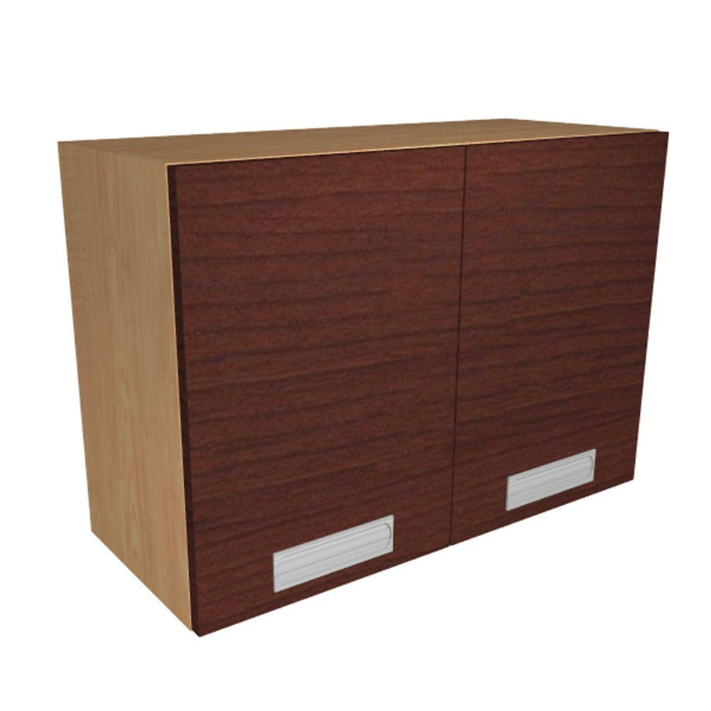 Home Decorators Collection Ready to Assemble 36x21x12 in. Genoa Wall Cabinet with 2 Soft Close Doors in Cherry, Cherry Melamine