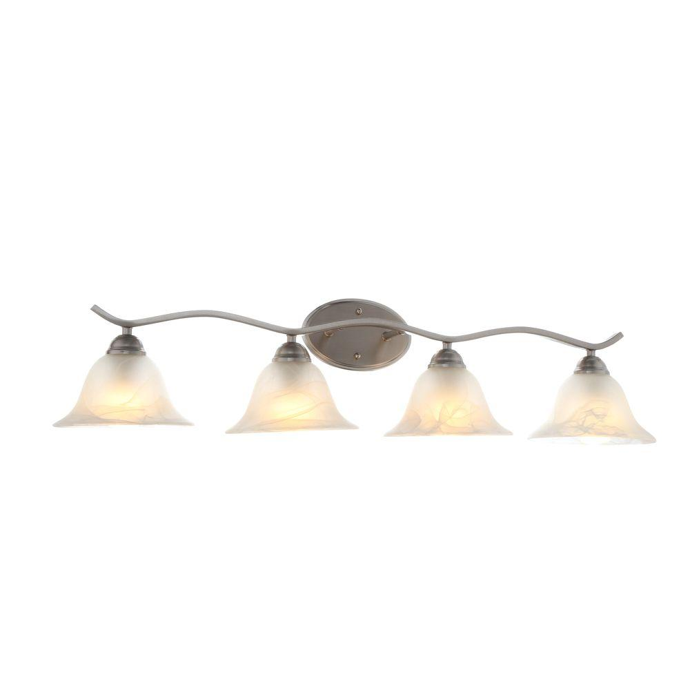 bath vanity lighting fixtures. Hampton Bay Andenne 4-Light Brushed Nickel Bath Vanity Light With Bell Shaped Marbleized Glass Lighting Fixtures