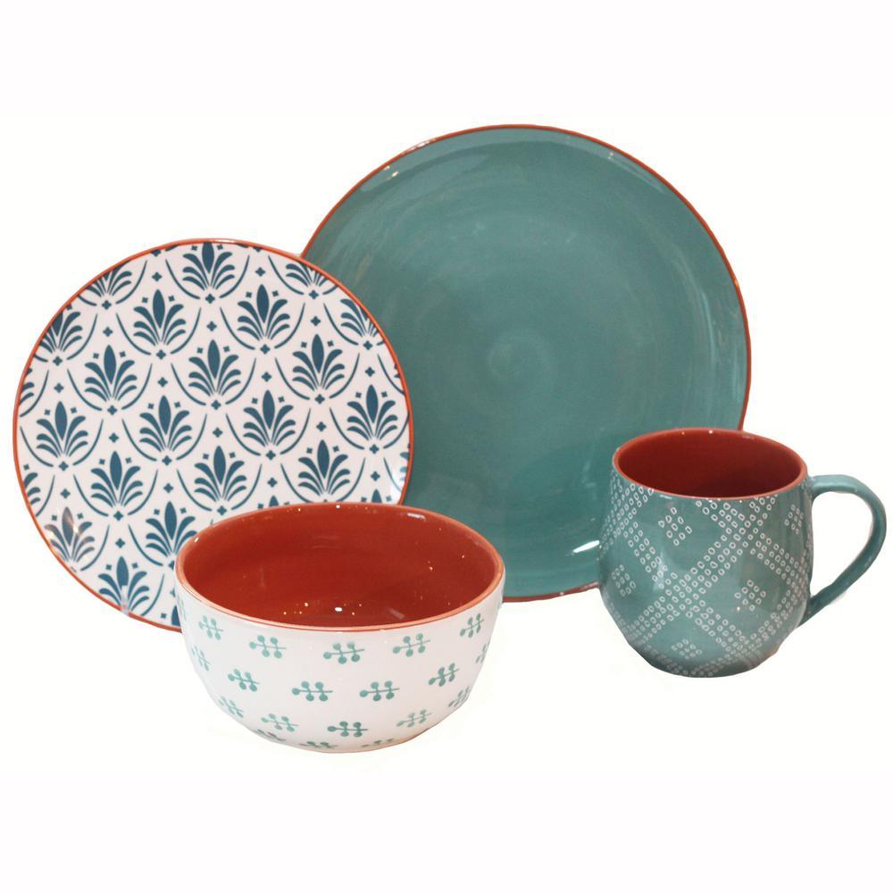 Oasis 16-Piece Turquoise Dinnerware Set
