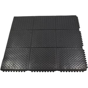 Durable Anti-Fatigue Interlocking Commercial Solid 37 inch x 37 inch Rubber Floor Mat by