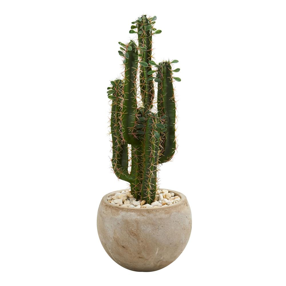 Nearly Natural Indoor 2.5 ft. Cactus Artificial Plant in Bowl Planter