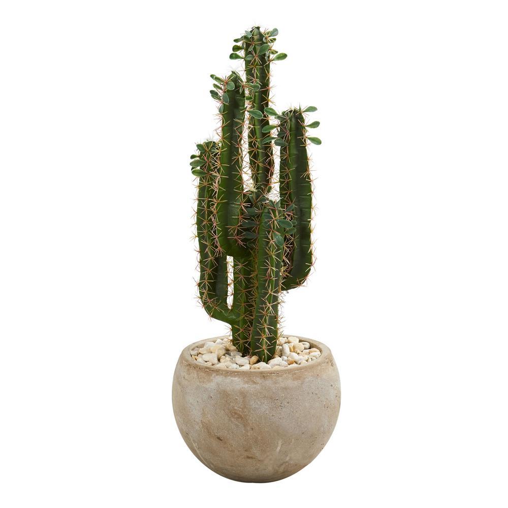 Indoor 2.5 ft. Cactus Artificial Plant in Bowl Planter