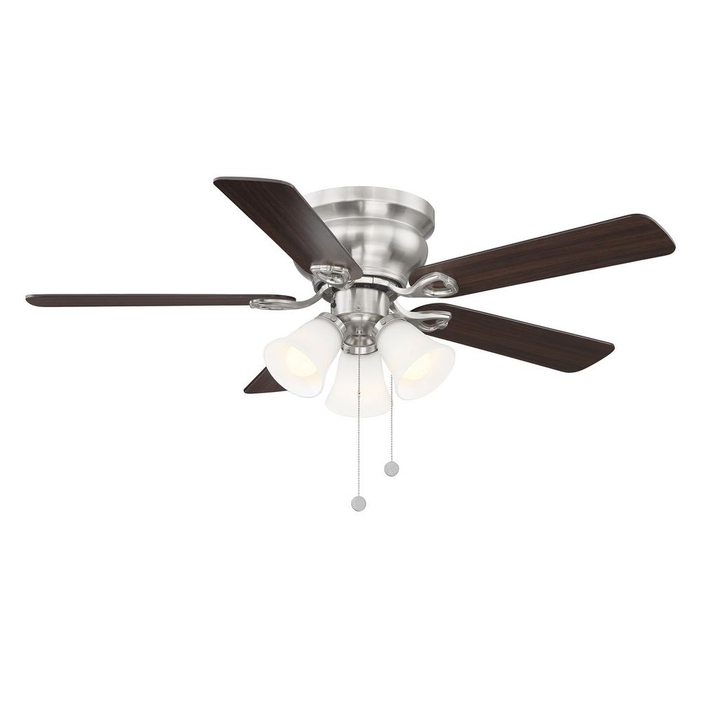Clarkston II 44 in. LED Indoor Brushed Nickel Ceiling Fan with Light Kit