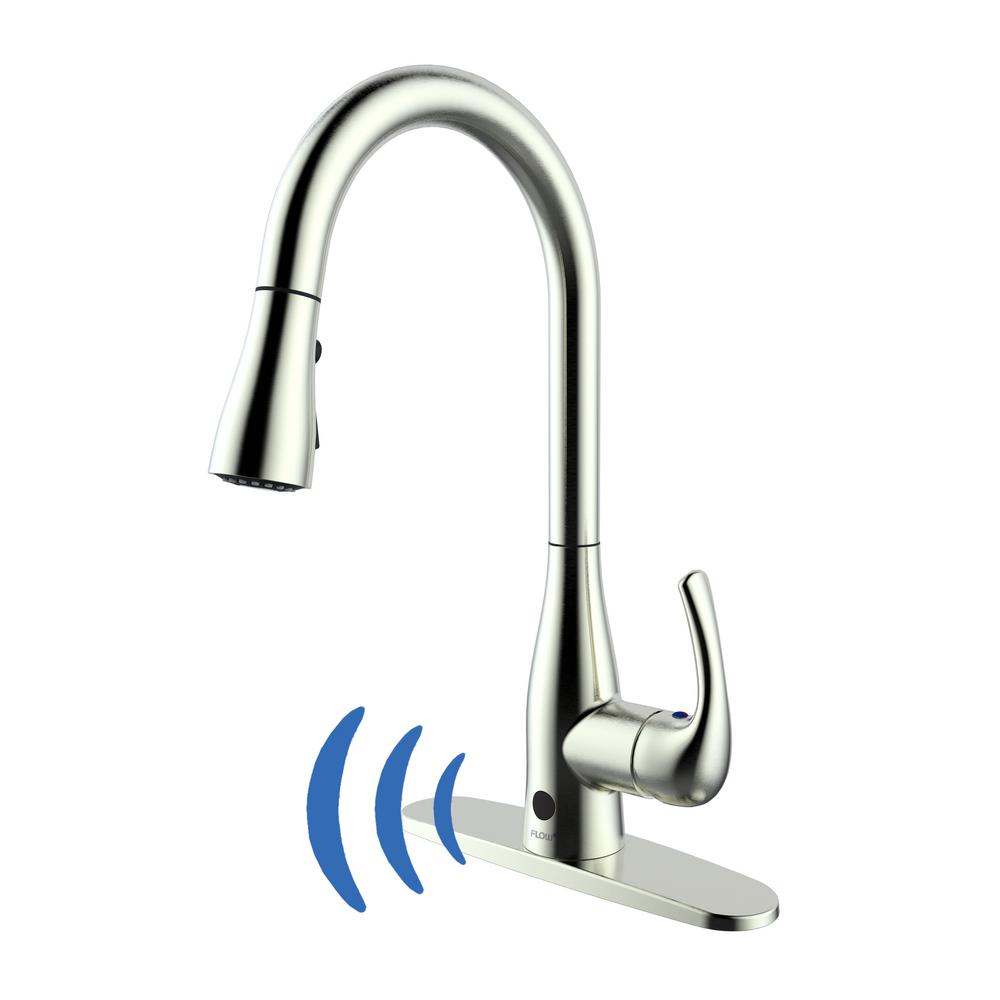 flow motion activated single handle pull down sprayer kitchen faucet with motion sensor in brushed nickel