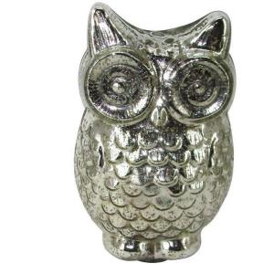12 in. H Owl Decorative Figurine in Mercury Glass