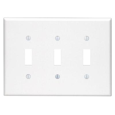 White 3-Gang Toggle Wall Plate (1-Pack)