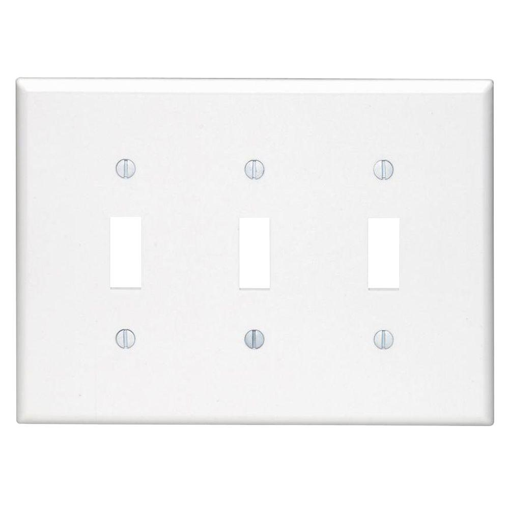 LEVITON 3-Gang Midway Toggle Nylon Wall Plate, White