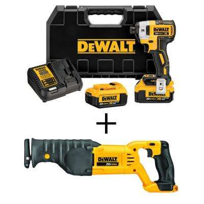 20-Volt MAX XR Lithium Ion Cordless Brushless 1/4 in. Cordless Impact Driver w/ Bonus 20-Volt Recip Saw (Tool-Only)