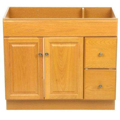 Claremont 36 in. W x 18 in. D Unassembled Vanity Cabinet Only in Honey Oak