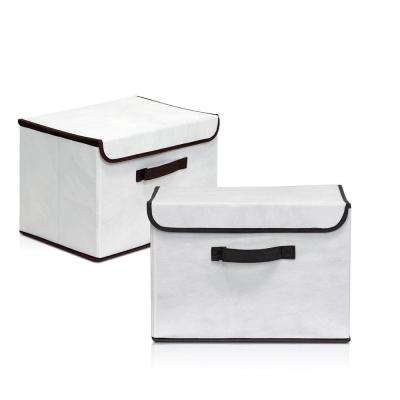 15 in. x 10.6 in. Non-Woven Fabric Beige Storage Bin with Lid (2-Pack)
