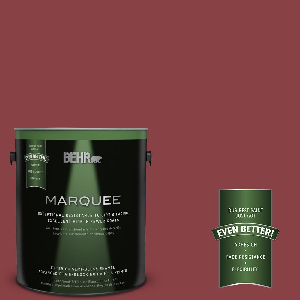BEHR MARQUEE 1-gal. #BIC-34 Winning Red Semi-Gloss Enamel Exterior Paint