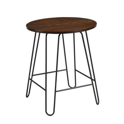 Ethan 20 in. Round Elm/Black Side Table