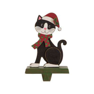 7.76 in. H Wooden Metal Christmas Stocking Holder Cat