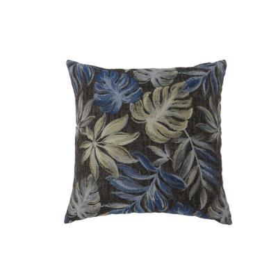 Dora Navy - Large Floral Polyester 22 in. x 22 in. Throw Pillow
