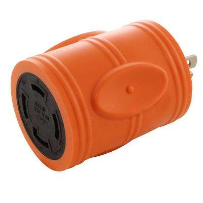 Locking Adapter Household Plug 15 Amp NEMA 5-15P to 4-Prong 30 Amp Locking L14-30R (2 Hots Bridged)