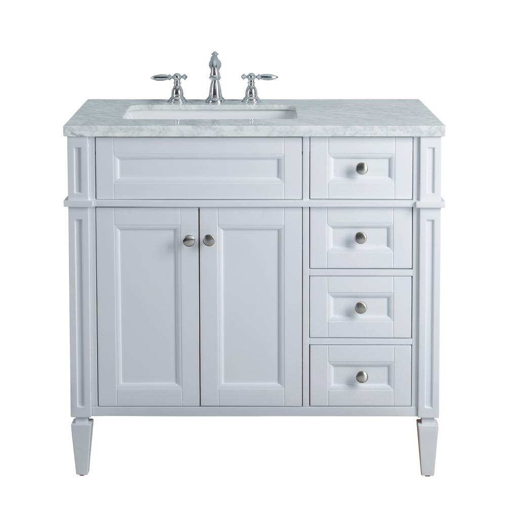 Stufurhome anastasia french 36 in white single sink bathroom vanity with marble vanity top and Marble top bathroom vanities