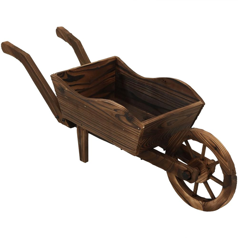 Wooden Wheel Barrels: Sunnydaze Decor Wooden Decorative Wheelbarrow Planter-DSL