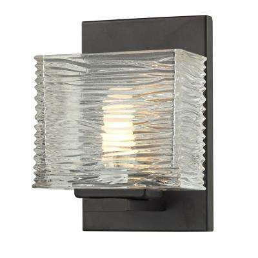 Jael 1-Light Bronze Bath Light with Clear Glass Shade