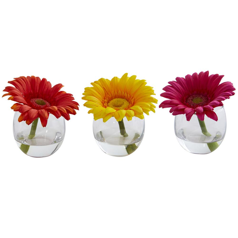 Nearly natural gerbera daisy artificial arrangement in glass vase nearly natural gerbera daisy artificial arrangement in glass vase set of 3 reviewsmspy