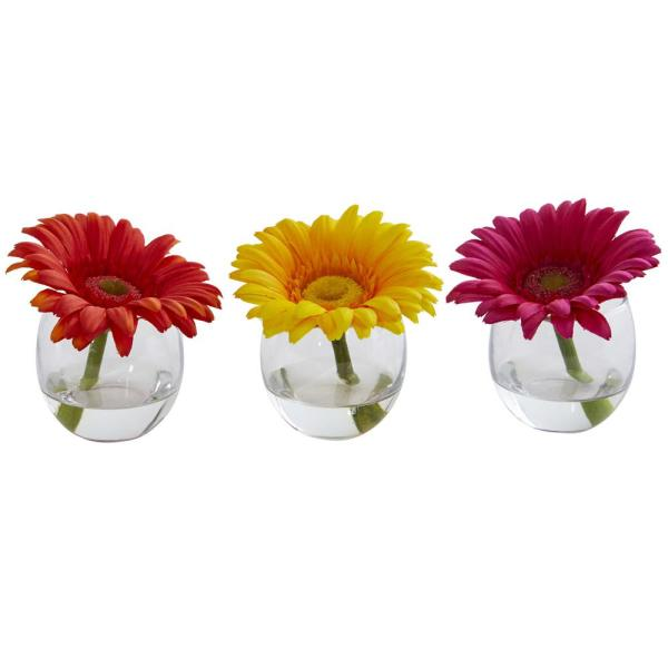 Nearly Natural Gerbera Daisy Artificial Arrangement in Glass Vase (Set of 3)
