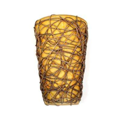 Wicker Tan Shade and Brown Indoor Battery Operated LED Sconce with Flameless Candle Flicker Mode