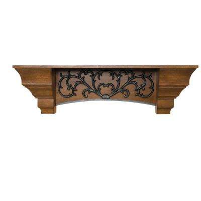 Scroll 5 ft. Oak Classic Traditional Styling Elegant Waterfall Sides and Arched Scrollwork Cap-Shelf Mantel