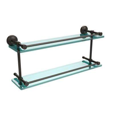 Waverly Place 22 in. L x 8 in. H x 5 in. W 2-Tier Clear Glass Bathroom Shelf with Gallery Rail in Oil Rubbed Bronze
