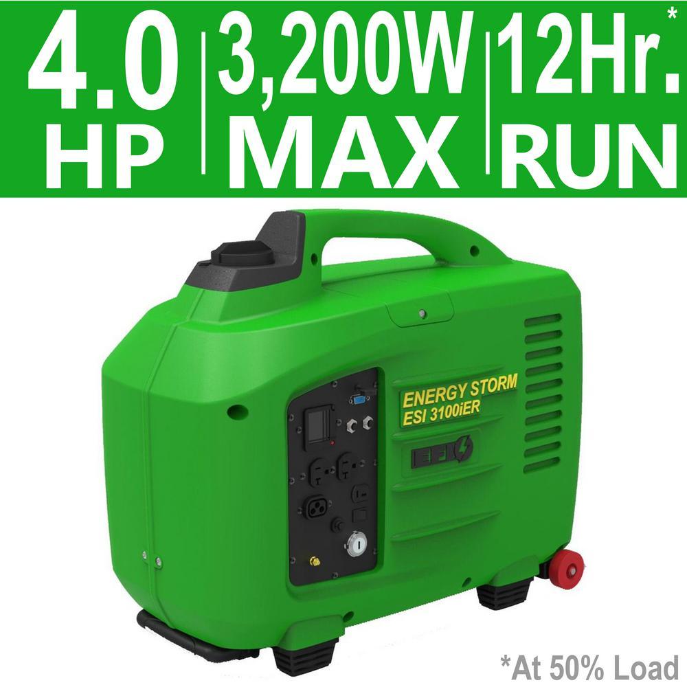 Energy Storm 3,200/3,100-Watt 150cc Gasoline Powered Electric/Remote Start Digital Inverter Generator, Electronic Fuel I