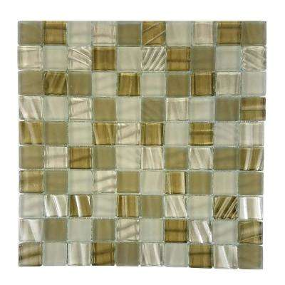 New Era Sugar Cane Brown Mosaic 1 in. x 1 in. Glossy Glass Mesh Mounted Wall Pool and Floor Tile (1.09 Sq. ft.)